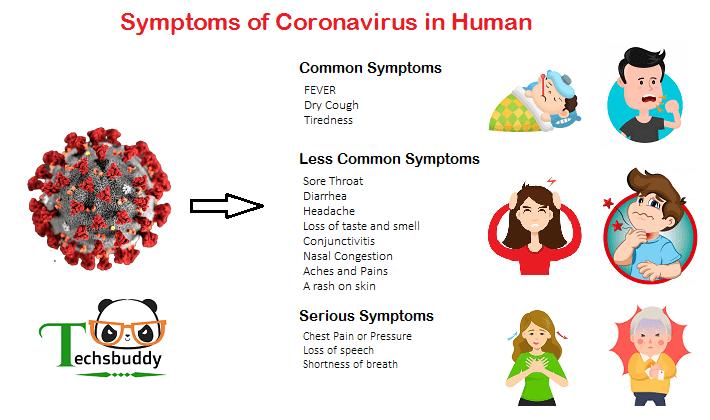 Symptoms of coronavirus in human