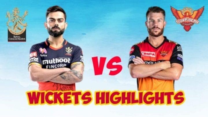 RCB vs SRH Wickets, RCB vs SRH 2020, RCB, RSH, Royal Challengers Bangalore, Sunrisers Hydrabad, RCB vs SRH Fall oe Wickets